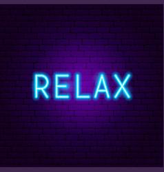 Relax neon text vector