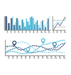 scheme with numbers and visualized data on charts vector image