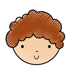 Scribble cute little boy face vector