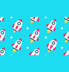 seamless pattern with rockets and stars vector image