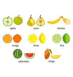 Set embroidered pixel fruit apple pear banana vector