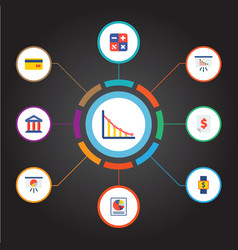 Set of analytics icons flat style symbols with vector