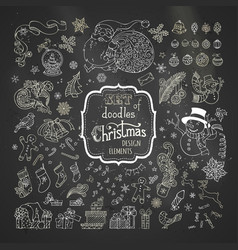 Set of chalk christmas signs symbols decorations vector