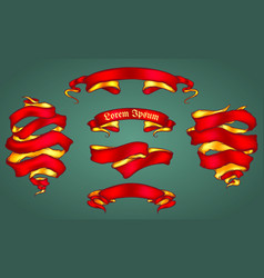set of the shiny ribbons vector image