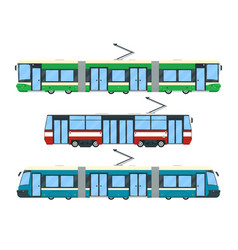 set of tram vector image