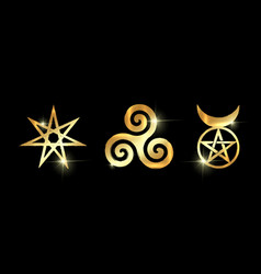Set of witches runes golden wiccan divination vector