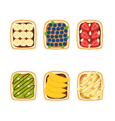 set toasts with berries and fruits vector image