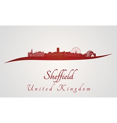 Sheffield skyline in red vector image