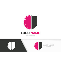 shield and brain logo combination security vector image