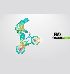 Silhouette a bmx rider thanks for watching vector