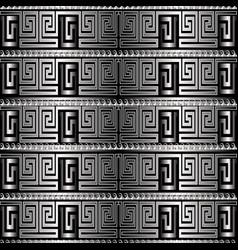 silver 3d greek key meanders seamless pattern vector image