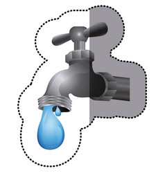 Silver faucet with water drop icon vector