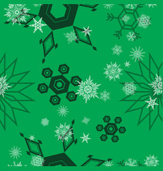 snowflake pattern green vector image