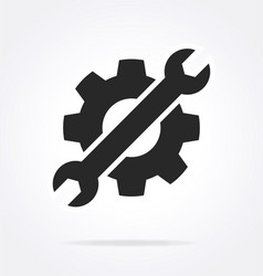 Spanner and gear settings service icon logo vector