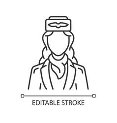 Stewardess linear icon vector
