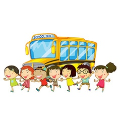 Students and school bus vector