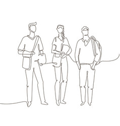 students - one line design style vector image