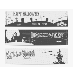 Three Halloween landscape banners Monochrome vector