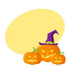 three hallowing jack o lanterns pumpkins in vector image