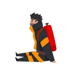 tired fireman sitting on floor firefighter vector image