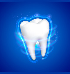 tooth on a blue background template design vector image