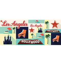 travel and tourism icons Los Angeles vector image