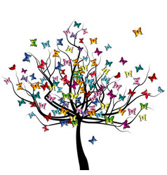 tree with colored butterflies flying around it vector image