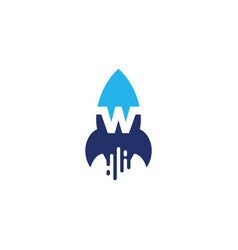 w letter rocket launch logo icon vector image