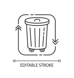 Waste disposal pixel perfect linear icon vector