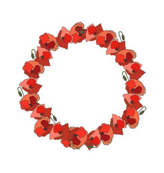 Wreath of poppy flower vector