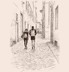 Young townspeople walking in old town vector