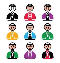 Catholic church pope icon set vector image