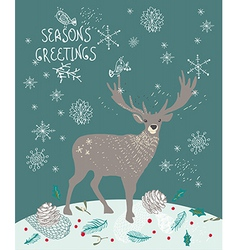 Christmas background with deer and snowflakes vector image