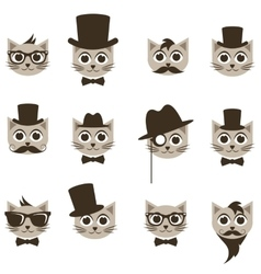 Hipster cat icons set vector