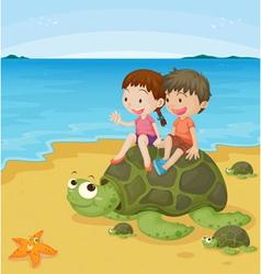 kids on turtles vector image