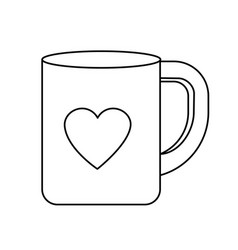 Line cup to drink with heart design vector
