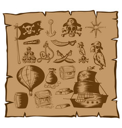 Pirate symbols and other elements on map vector