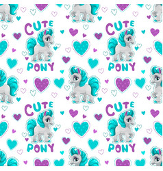 seamless pattern with cute cartoon horse princess vector image vector image