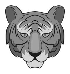 Tiger head icon gray monochrome style vector image vector image