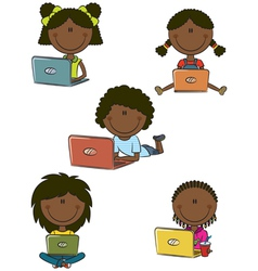 African-American cheerful girls with laptops vector image