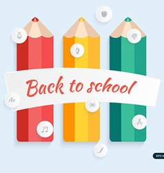 Back to school pencil with education icons vector image