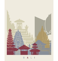 Bali skyline poster vector image vector image