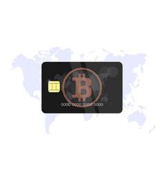bitcoin black bank card vector image vector image