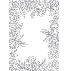 rectangular floral frame with roses black and vector image