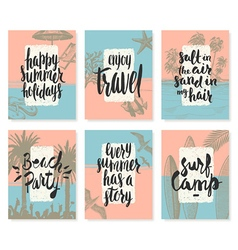 Set of Hand drawn summer vacation posters vector image vector image