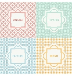 Set of mono line seamless pattern with circle vector image