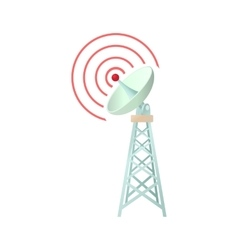 Tower with communication dish icon cartoon style vector image