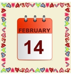 Valentine s day calendar icon in frame of hearts vector image