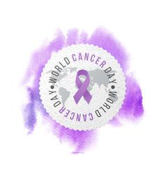 world cancer day awareness emblem vector image vector image