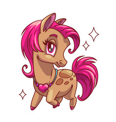 little cute glamour horse with pink hair vector image